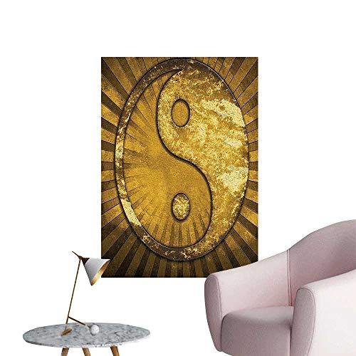 Wall Art Prints Metallic Effect dustrial ed Powerful Y Sunburst Pattern GOL for Living Room Ready to Stick on Wall,32