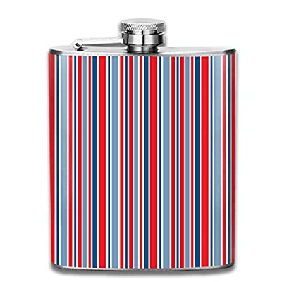 Colorful Blue Red USA Flag Striped Fashion Portable Stainless Steel Hip Flask Whiskey Bottle for Men and Women 7 Oz