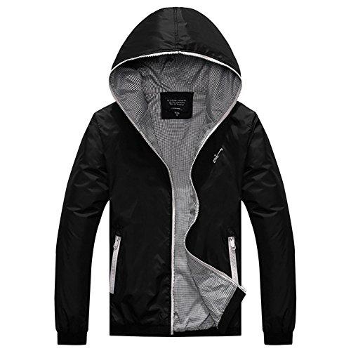 - Amcupider Big Boys Hooded Rain Quick Dry Jacket Windbreaker (S, 309 Black/Gray)