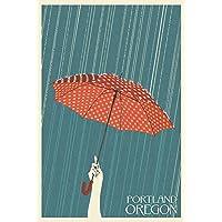 Portland, Oregon - Umbrella - Letterpress