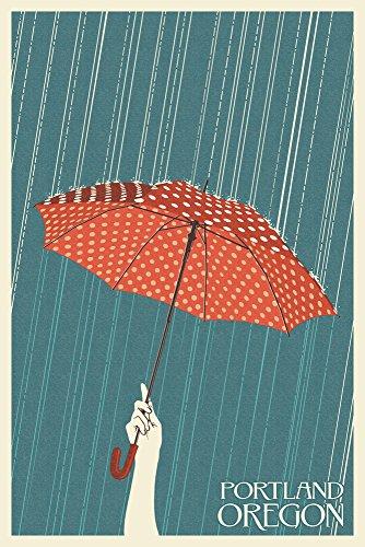 Portland, Oregon - Umbrella - Letterpress (12x18 Art Print, Wall Decor Travel - Portland Framing Supplies Oregon