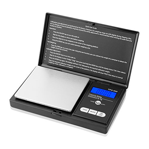 Weigh Gram Digital Pocket Scale, 600g x 0.1g,Grams Scale, Jewelry Scale, Food Scale, Kitchen Scale, TOP-600 (Black) (0.1g Pocket Scale)