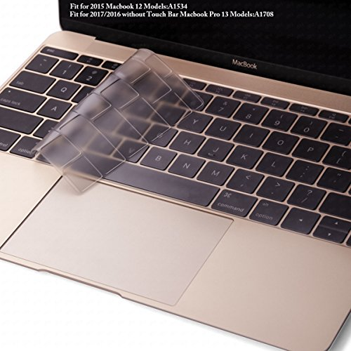 DHZ Ultra Thin Soft Transparent Keyboard Cover Skin for Macbook 12 Retina (Model: A1534 2015 Released) US layout Waterproof Dust-proof , Clear TPU