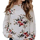 Spbamboo Women Lady Sexy Casual Floral Printing T-shirt Long Sleeve Tops Blouse