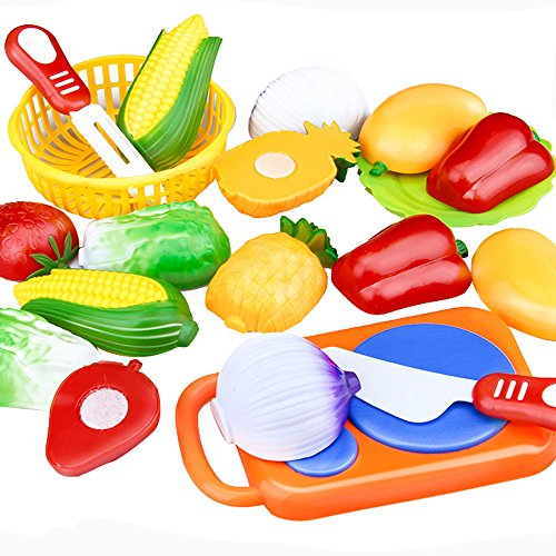 Iuhan 12PC Cutting Fruit Vegetable Pretend Play Children Kid Educational Toy (Color Style Randomly)