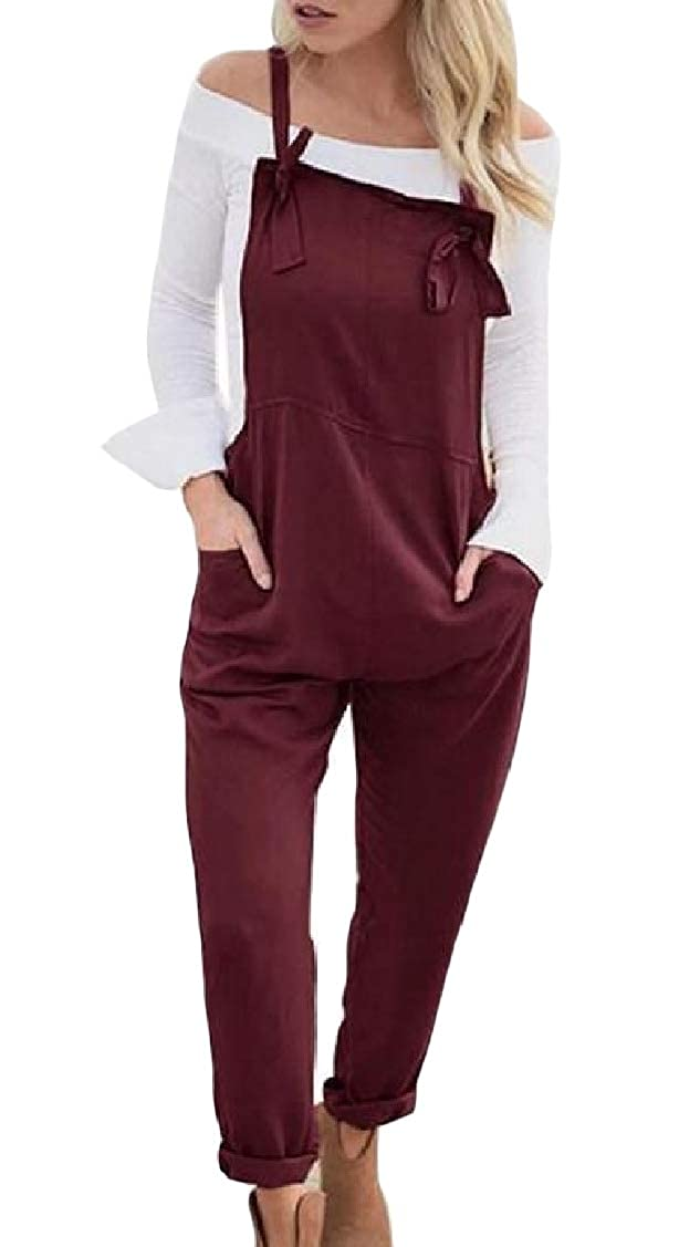 Lutratocro Womens Sleeveless Adjustable Casual Pocket Harem Pencil Ankle Overalls