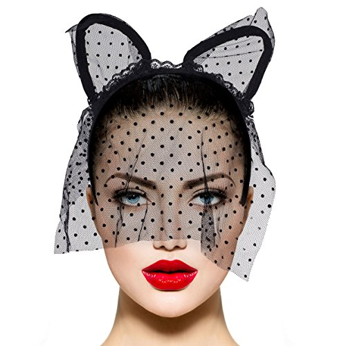 Lux Accessories Black Cat Ear Polka Dot Veil Halloween Kitty Costume (Over The Head Banana Costumes)