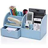KINGOM 7 Storage Compartments PU Leather Office Desk Organizer,Desktop Stationery Storage Box Collection, Business Card/Pen/Pencil/Mobile Phone/Remote Control Holder Desk Supplies Organizer (Blue)