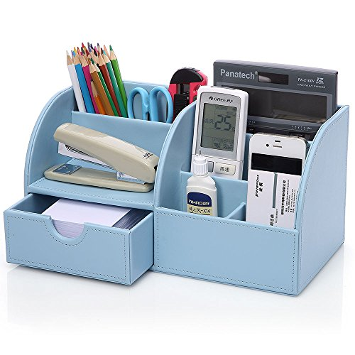 KINGOM™ 7 Storage Compartments Multifunctional PU Leather Office Desk Organizer,Desktop Stationery Storage Box Collection, Business Card/Pen/Pencil/Mobile Phone /Remote Control Holder Desk Supplies Organizer (Blue)
