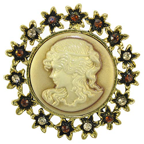 Gyn&Joy Vintage Inspired Victorian Design Queen Lady Crystal Flower Cameo Enamel Brooch Pin (Old Gold)