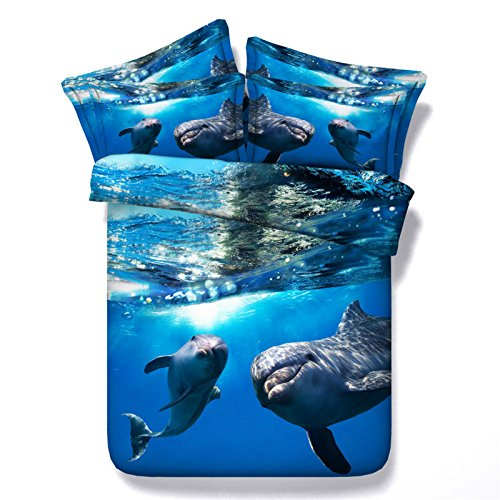 Jameswish Gorgeous 3D Blue Deep Sea Dolphin Bedding Sets,100% Microfiber Polyester,4-piece Includes 1Duvet Cover,1Flat Sheet,2Pillowcases,King Queen Full Twin Size