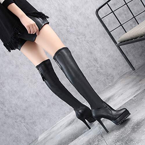 HBDLH HBDLH HBDLH Damenschuhe Über Das Knie Stiefel Heel 12 cm Dünne Sohle Elastizität Spitze Reißverschluss High - Heel Samt Wasserdichte Plattform Dünnen Bein Stiefel 78221e