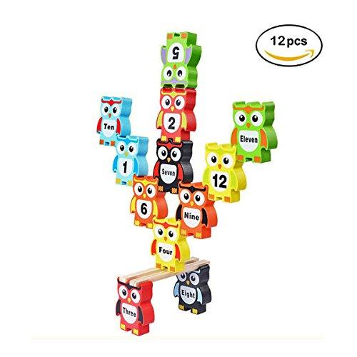MIMIDOU Owl Wooden Stacking Toy Set of 16pcs Balancing Blocks Games Toddler Educational Block Toys for Kids Children. (Owl 12pcs)
