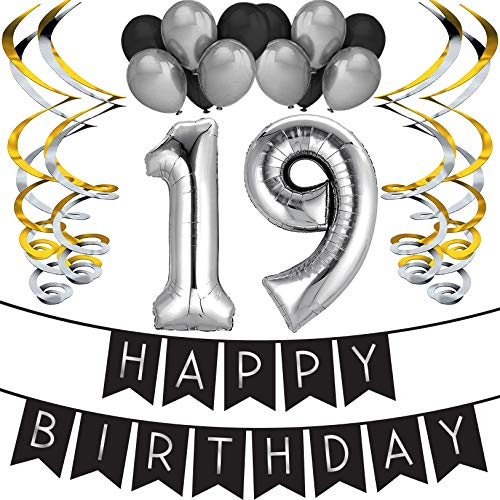 19th Birthday Party Pack - Black & Silver Happy Birthday Bunting, Balloon, and Swirls Pack- Birthday Decorations - 19th Birthday Party Supplies]()