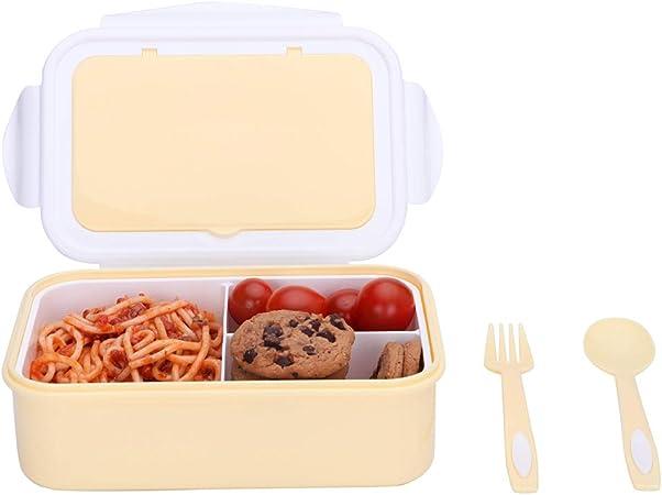 1050ml Caja de Almuerzo de Plástico Amarillo Claro, Caja de Bento con 3 Compartimentos y Cubiertos (Tenedor y Cuchara), Fiambreras Caja de Alimentos para Almuerzo y Bocadillos para Niños y Adultos: Amazon.es: