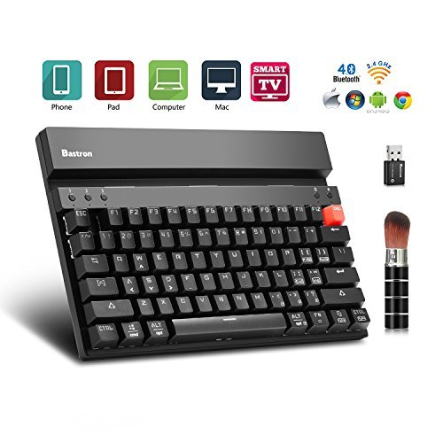 (Wireless Mechanical Keyboard Dual Mode 2.4G&Bluetooth Multi-device Keyboard for Computers Tablets Smartphones Gaming / Industrial / Office LED Backlit by Bastron MK75+(Black) Green Switch)