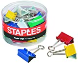 Staples Medium Colored Metal Binder Clips, 1 1/4'' Size with 5/8'' Capacity