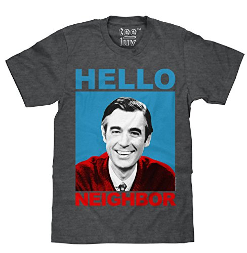 Tee Luv Mister Rogers T-Shirt - Mr. Rogers Hello Neighbor Shirt (Medium) Charcoal Heather
