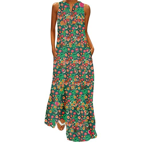 Women Long Dress Casual Retro Folk Style Cotton and Linen Summer Print V-Neck Vintage Maxi Casual Loose Dresses Green