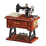 Animated Antique Sewing Machine Tabletop Music Box Complete with Fabric, Scissors, and Treadle Pedal - Plays Fur Elise