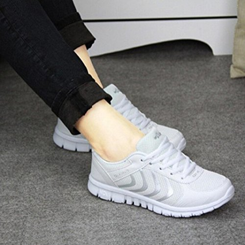 2017 Sneakers Damen, Kaiki Womens Summer Casual Breathable Mesh Athletic Sneakers Sportliche Flats Schuhe White