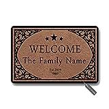 Bernie Gresham Welcome Doormat The Family Name or Any Word Personalized Custom Outdoor/Indoor Funny Doormat Floor Door Mat Non Slip Mats Bathroom Kitchen Decor Area Rug for Entrance 18 X 30 inch