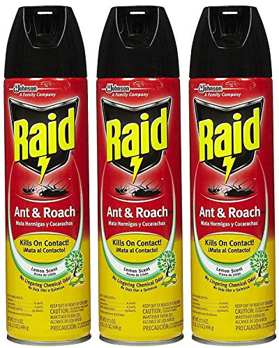 Roach Spray Ant (Raid AC1690 Ant and Roach Killer Insecticide Spray Lemon 17.5 Ounce 3 Pack)