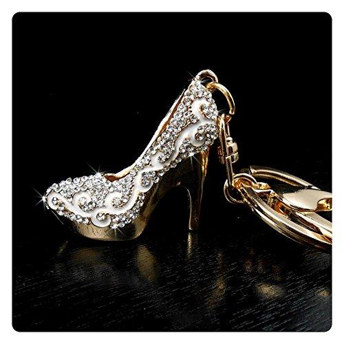Rhinestone Keychains, Heel Bling Key Chain, Ladies Purse Charm Bling, Crystal Key Ring Bag Charm, Jewelry Keyring, By (White) (Enamel Car Charm)