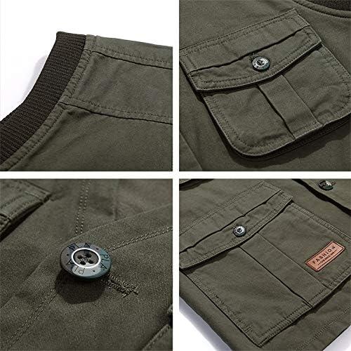 FEVIJNB Hunting Vests Summer Multi Pocket Men Vest Cotton Button Sleeveless Jacket With Many Pockets Thin Comfortable Khaki Army Green Tool Waistcoat