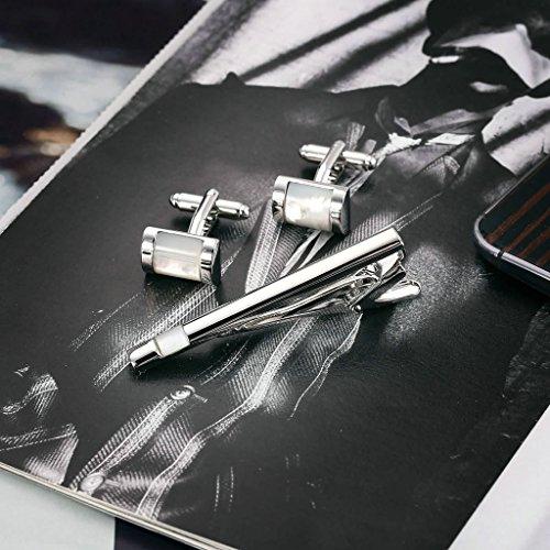 Gnzoe Acier inoxydable Boutons De Manchette Cravate Tie Clip Bar Parures Chemise Mariage Silver