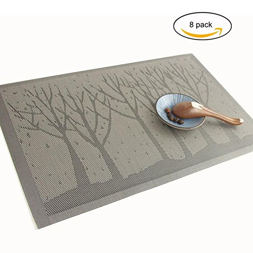 MEGOOD 8Pcs Pine Tree Place Mats Heat-resistant Placemat,30x45cm Textilene PVC Material Anti-skid Washable Table Mat (Gray) (For Best Furniture Pine Stain Outdoor)