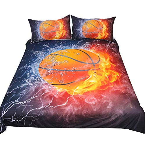 Rose Auroma 3D Basketball Flame Bedding Set Duvet Cover Basketball Bedding, Basketball Bedspread 3 Piece Duvet Cover Sets Full Size