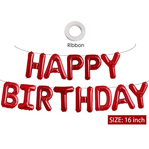 Black And Red Happy Birthday Banner (Red Happy Birthday Banner Balloons, 16 Inch Mylar Foil Letters Balloons Banner Reusable Ecofriendly Materialfor Birthday Decorations and Party Supplies(with)