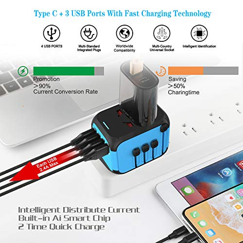 Upgraded Worldwide Universal Travel Adapter International Power Adapter Fast Wall Charger AC Plug Adaptor with 5.0A High Speed USB Charger /& 3.0A Type-C For USA EU UK AUS Cell Phone Tablet Laptop