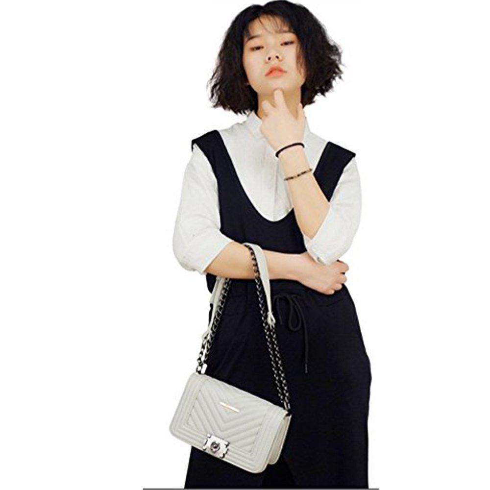 Manka Vesa Women's Classic Quilted Twist Turn Lock Crossbody Shoulder Bag Satchel Chain Strap Gray