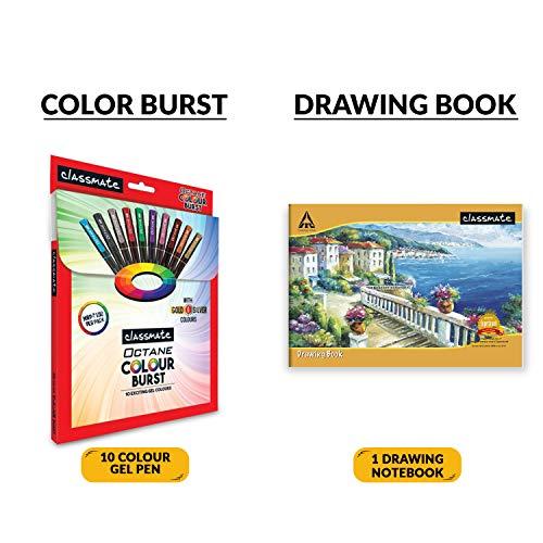 Classmate Stationery Kit Bag - Drawing Book, Sketch Pen, Oil Pastel, Eraser, Crayons, Notebook, Scale, Sharpener, Octane Colour Burst Pen, Mechanical Pencil, Octane Glide Ball Pen, Scrapbook
