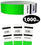Goldistock Original Series - 3/4'' Tyvek Wristbands Value Pack Vivid Neon Green 1,000 Count - Event Identification Bands (Paper - Like Texture)