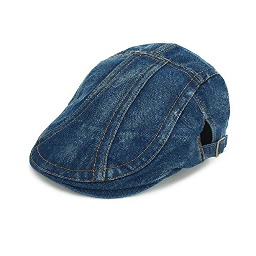 Denim Newsboy - LETHMIK Denim Flat Cap newsboy IVY Irish Hats Jean Cabbie Scally Cap duckbill Hat newsboy Dark Blue