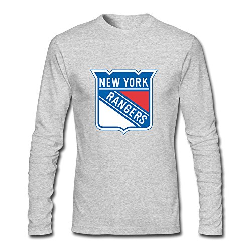 Man Style Organic Cotton NHL New York Rangers Logo Long Sleeve T-Shirt HeatherGray US Size S