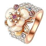 "RI06010 ""Summer Flowers"" Austrian Crystal 18K Ring"