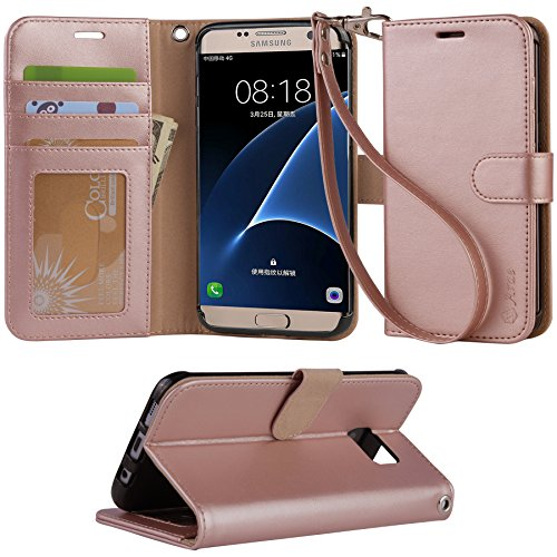 Galaxy s7 edge Case, Arae [Wrist Strap] Flip Folio [Kickstand Feature] PU leather wallet case with ID&Credit Card Pockets For Samsung Galaxy S7 edge