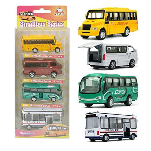 Mini Scene Kit - MinYn Die Cast Bus Toy Set Pull Back Model Car Play Kit Doors Openable Mini School Bus Coach Bus Gifts Kids - 4 pieces