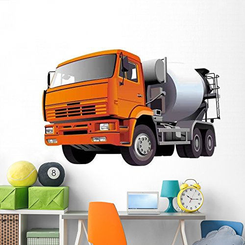 Concrete Mixer Wall Decal by Wallmonkeys Peel and Stick Graphic (72 in W x 47 in H) (Concrete Batch Plants)