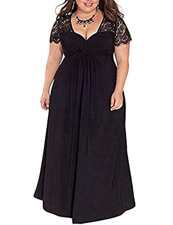 Feelingirl Mujer Vestido De Noche Encaje Largo Traje Talla Extra Grande Negro Xxl