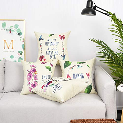 Square Pattern Pillow - YINNAZI Flower Printed Decorative Throw Pillow Cover Feather Pattern Square Cushion Case  Pillowcase for Couch Living Dorm 18 x 18 Inch set of 4