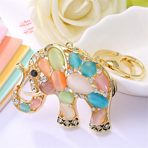 Cute Big Ears Opal Elephant Keychain Sparkling Keyring Crystal Purse Pendant Rhinestones Handbag Charm (Colorful) ()