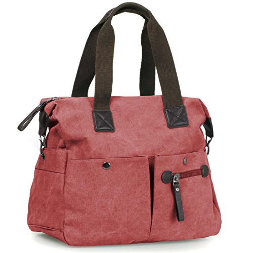 BMC Womens Firebrick Red Textured Canvas Multi Pocket Shoulder Tote Fashion Handbag - Double Handle Handbag