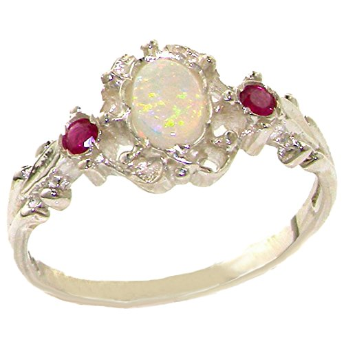 925 Sterling Silver Natural Opal and Ruby Vintage Anniversary Ring - Size 8.5