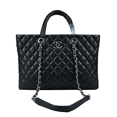 Braun Chanel black caviar leather handbag