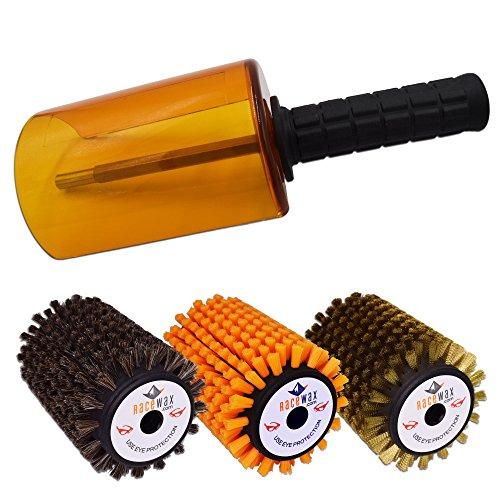 RaceWax Rotobrush Kit Axle/Handle/Shield Nylon Horsehair Brass Brushes by RaceWax